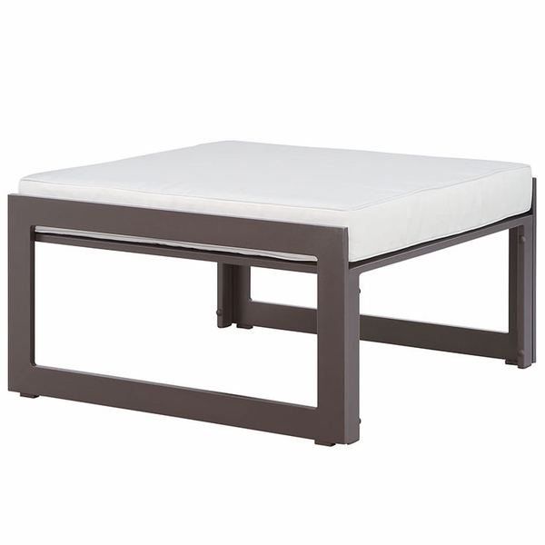 Fortuna Brown/White Fabric Outdoor Patio Ottoman by Modway