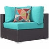 Convene 5-Pc Espresso/Turquoise Outdoor Patio Sectional Set by Modway
