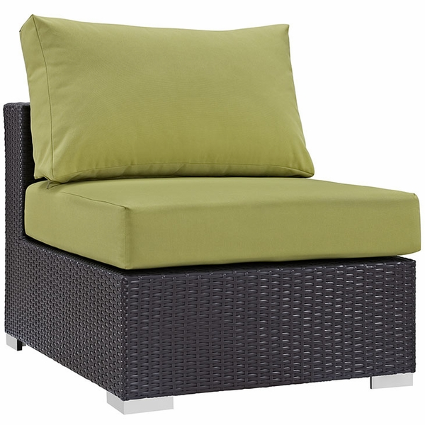 Convene 5-Piece Espresso/Peridot Outdoor Sectional Set by Modway