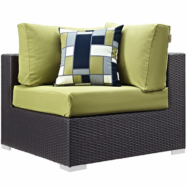 Convene 8-Pc Espresso/Peridot Outdoor Patio Sectional Set by Modway