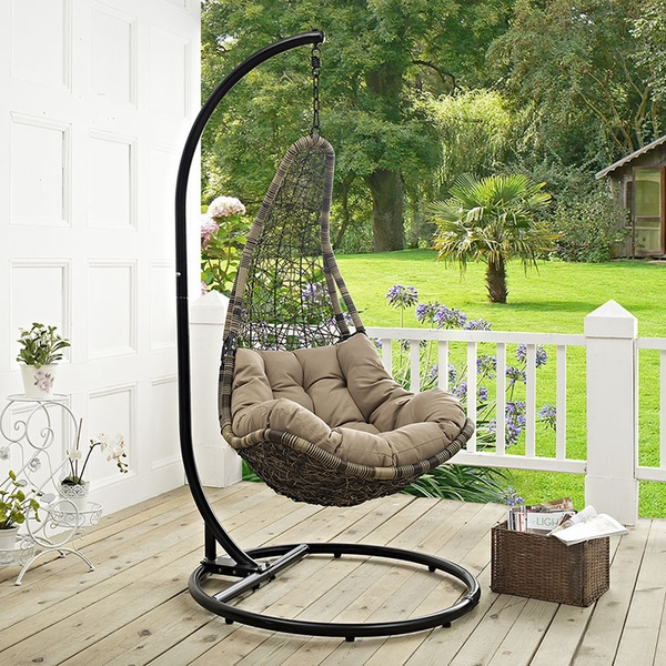 Abate Black/Mocha Outdoor Patio Swing Chair with Stand by Modway