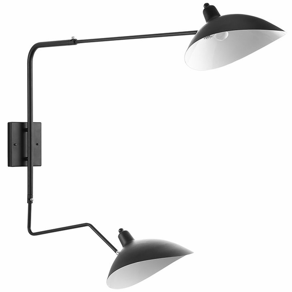 View Black/White Steel Double Fixture Wall Lamp by Modway