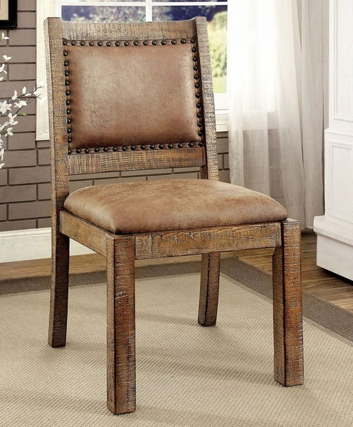 Colette 2 Rustic Oak/Brown Fabric Side Chair by Furniture of America