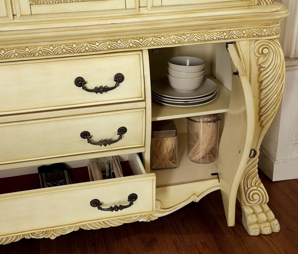 Wyndmere White Hutch & Buffet w/ Touch Lights by Furniture of America