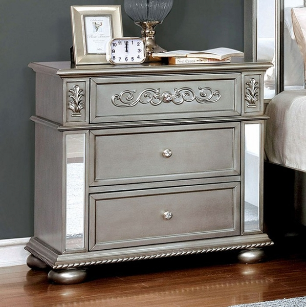 Azha Silver Solid Wood Nightstand by Furniture of America