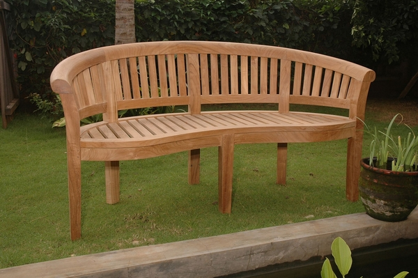 Curve Natural Finish 3-Seater Bench by Anderson Teak