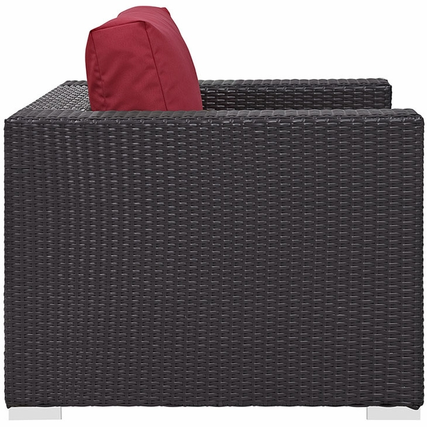 Convene Espresso/Red Outdoor Patio Arm Chair by Modway