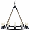 Encircle Brown Rope/Steel Frame Chandelier by Modway