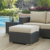 Sojourn Rattan Patio Ottoman with Beige Fabric Cushion by Modway