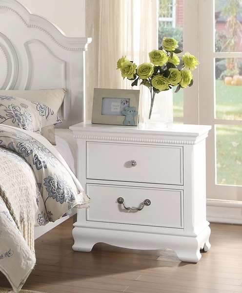 Lucida 2-Drawer Youth White Wood Nightstand by Homelegance