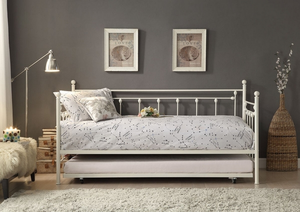 Lorena White Metal Twin Daybed with Trundle by Homelegance