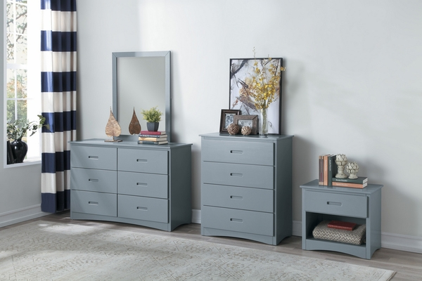 Orion Gray Wood Nightstand with Drawers & Open Shelf by Homelegance