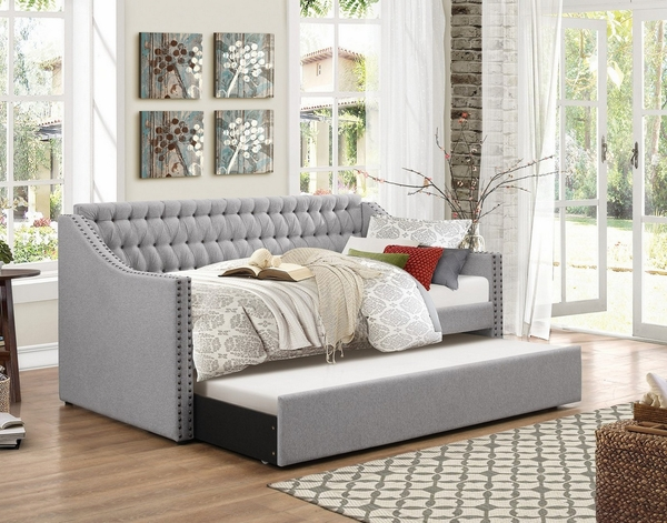 Tulney Gray Fabric Twin Daybed with Trundle by Homelegance