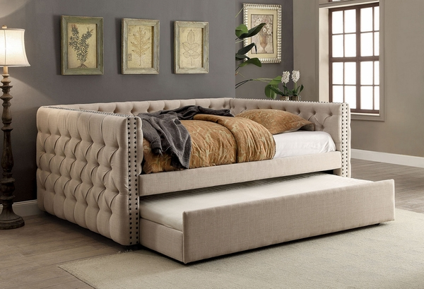 Suzanne Ivory Fabric Full Daybed with Trundle by Furniture of America