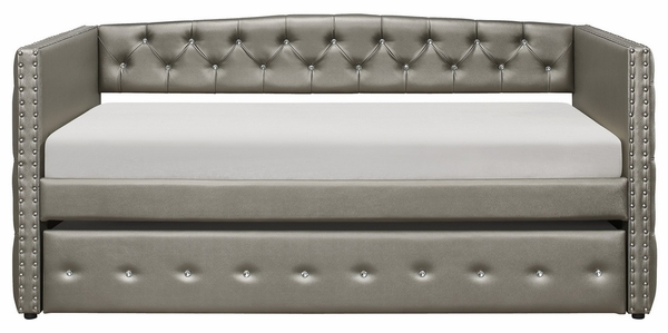 Trill Silver Vinyl Twin Daybed with Trundle by Homelegance