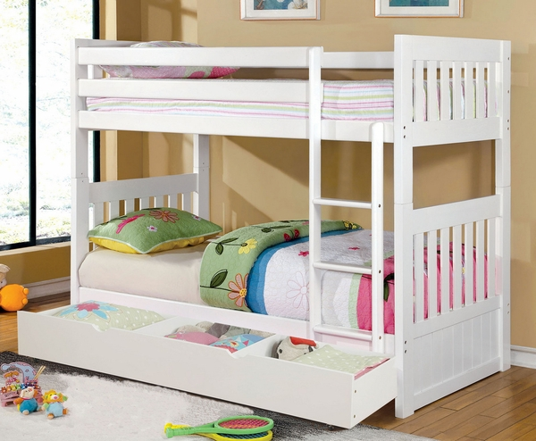 Canberra-II White Wood Twin Bunk Bed w/Trundle by Furniture of America