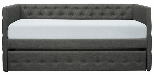 Batavia Dark Gray Fabric Twin Daybed with Trundle by Homelegance