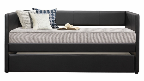Adra Black Vinyl Upholstered Twin Daybed with Trundle by Homelegance