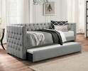 Adalie Gray Fabric Upholstered Twin Daybed with Trundle by Homelegance