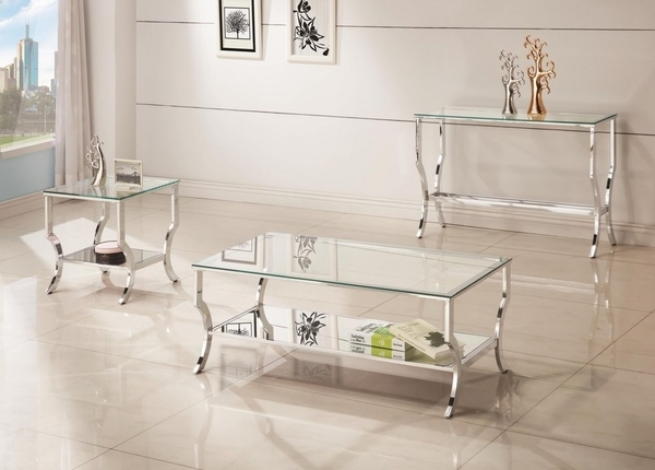 Anya Contemporary Clear Glass/Chrome Finish Sofa Table by Coaster