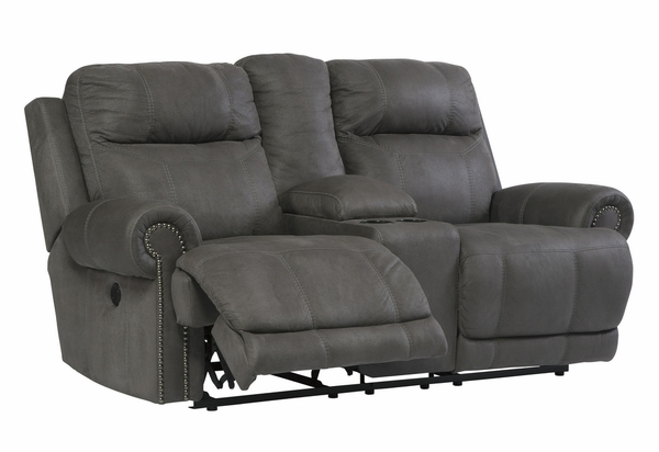 Signature Design Austere Gray Power Recliner Loveseat by Ashley