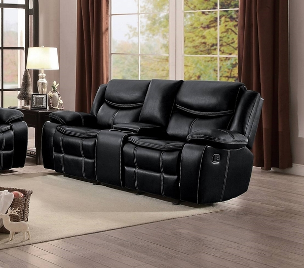 Bastrop Black Manual Glider Recliner Loveseat w/Console by Homelegance