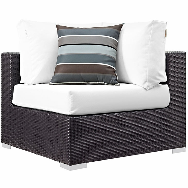Convene 6-Pc Espresso & White Outdoor Patio Sectional Set by Modway