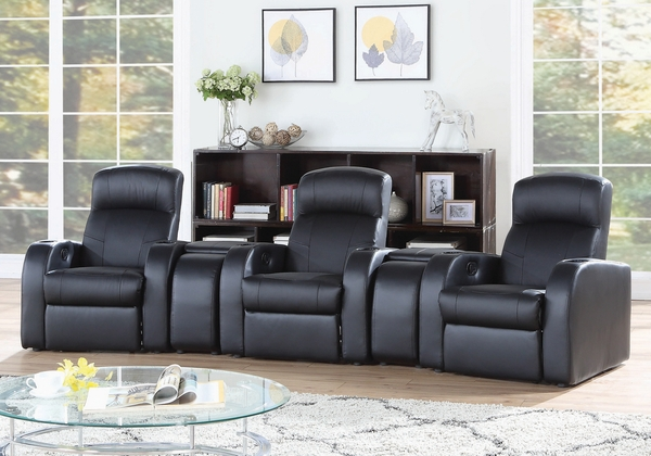 Cyrus 5-Pc Black Leather Manual Recliner Home Theater Set by Coaster