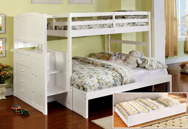 Appenzell White Twin/Full Bunk Bed w/Trundle by Furniture of America