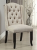 Sania 2 Ivory Fabric/Antique Black Side Chairs by Furniture of America