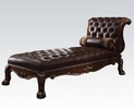 Dresden Cherry Oak PU Leather Button Tufted Chaise w/ Pillow by Acme