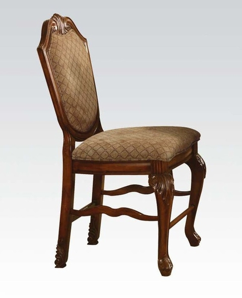 Chateau De Ville 2 Cherry Wood/Fabric Counter Height Chairs by Acme