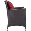 Convene 4 Espresso/Red Outdoor Patio Dining Arm Chairs by Modway