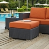Sojourn Rattan Patio Ottoman with Tuscan Fabric Cushion by Modway