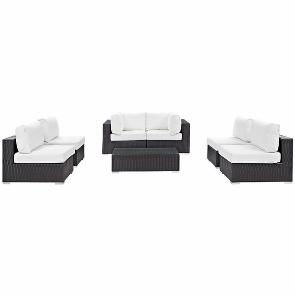 Convene 7-Pc Espresso/White Patio Sectional Set by Modway