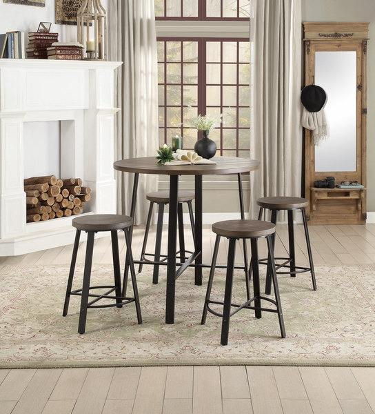 Chevre 2 Brown Wood/Dark Gray Counter Height Stools by Homelegance