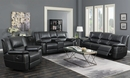 Lee Black Leatherette Manual Glider Recliner Loveseat by Coaster