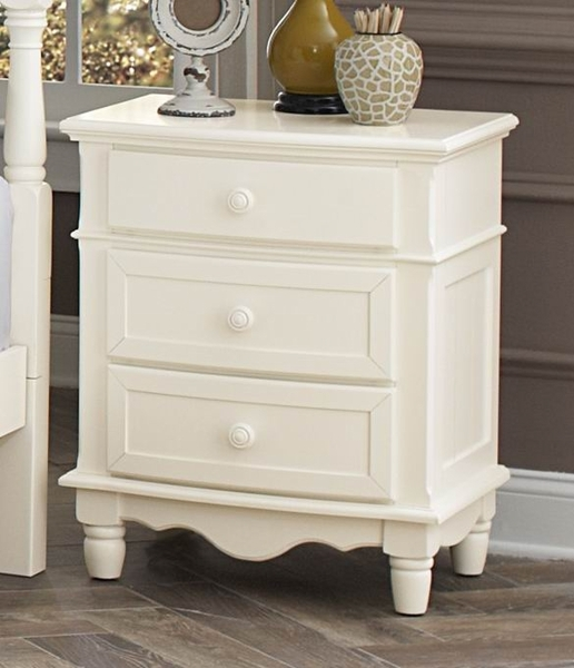 Clementine Antique White Wood Nightstand by Homelegance