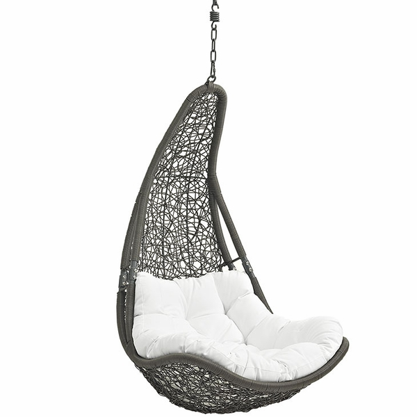 Abate Gray/White Outdoor Patio Swing Chair without Stand by Modway