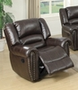 Leelo Brown Bonded Leather Manual Rocker Recliner by Poundex