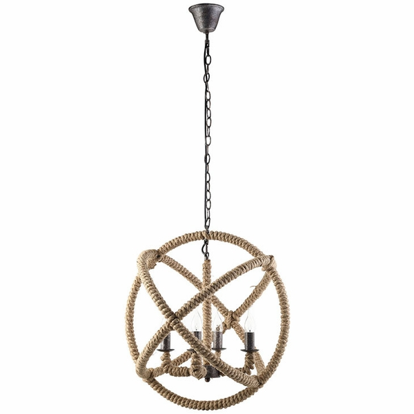 Intention Brown Rope/Steel Frame Chandelier by Modway