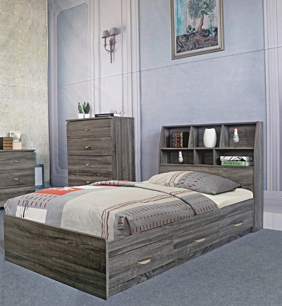 Rosina Distressed Grey Wood Twin Bed with Bookcase ...