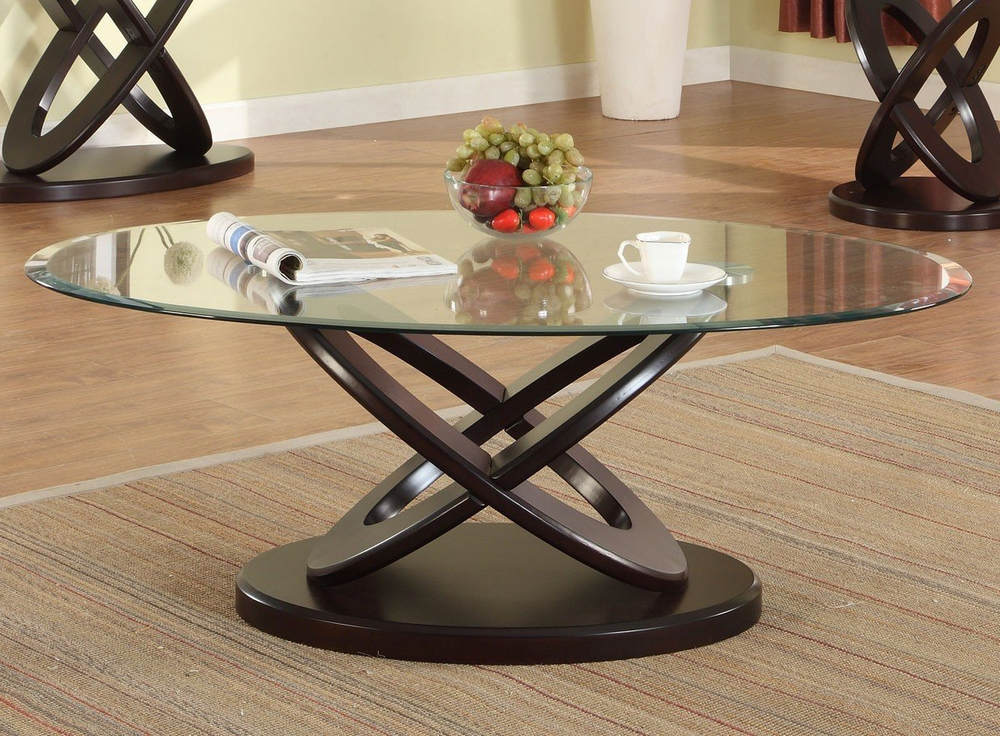 Cyclone Dark Brown Wood Coffee Table W Glass Top By Crown Mark
