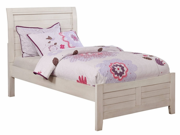 Brogan Antique White Wood Twin Bed by Furniture of America