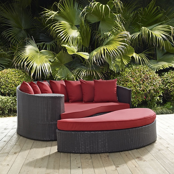 Convene Espresso/Red Outdoor Patio Daybed by Modway