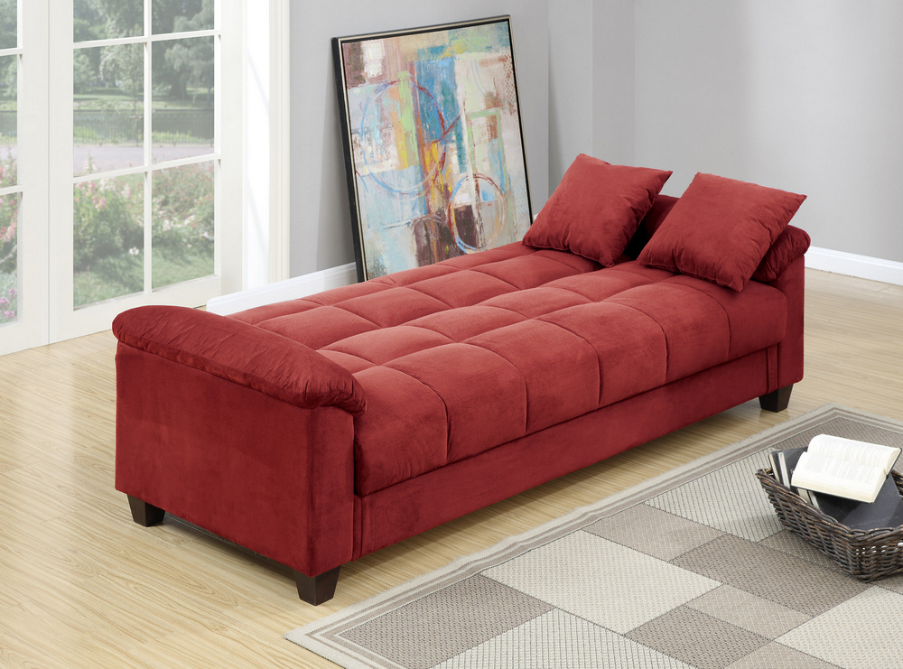 Romina Red Microfiber Adjustable Sofa Bed by Poundex