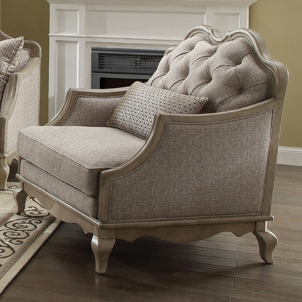 Chelmsford Beige Fabric/Antique Taupe Chair with 1 Pillows by Acme