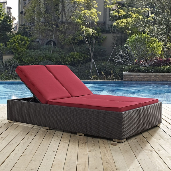 Convene Espresso/Red Double Outdoor Patio Chaise by Modway