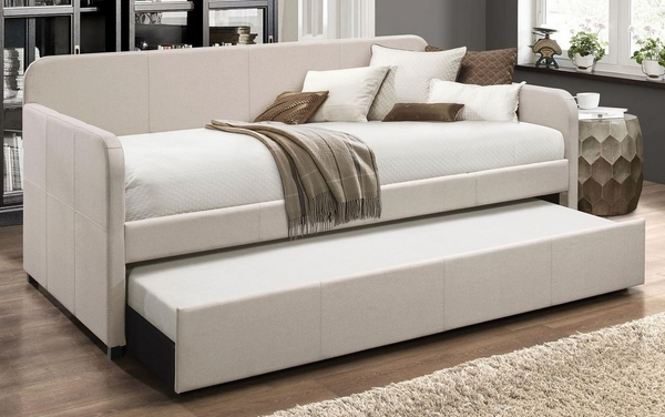 Jagger Beige Fabric Twin Daybed with Trundle by Acme