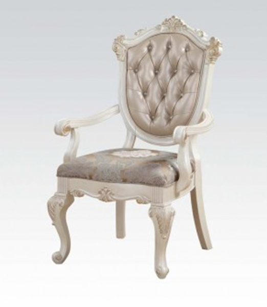Chantelle 2 Rose Gold PU Leather/Pearl White Arm Chairs by Acme
